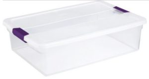 Clear, storage container